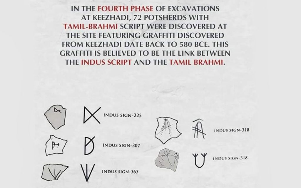 prrof of link between the Indus script and the Tamil brahmi