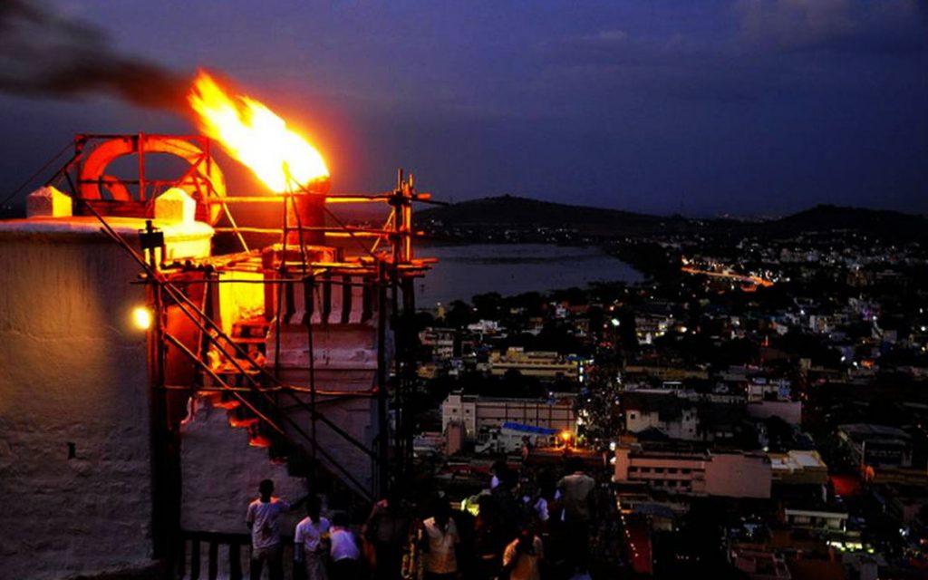 Deepam lit atop Tirupparankundram hillock