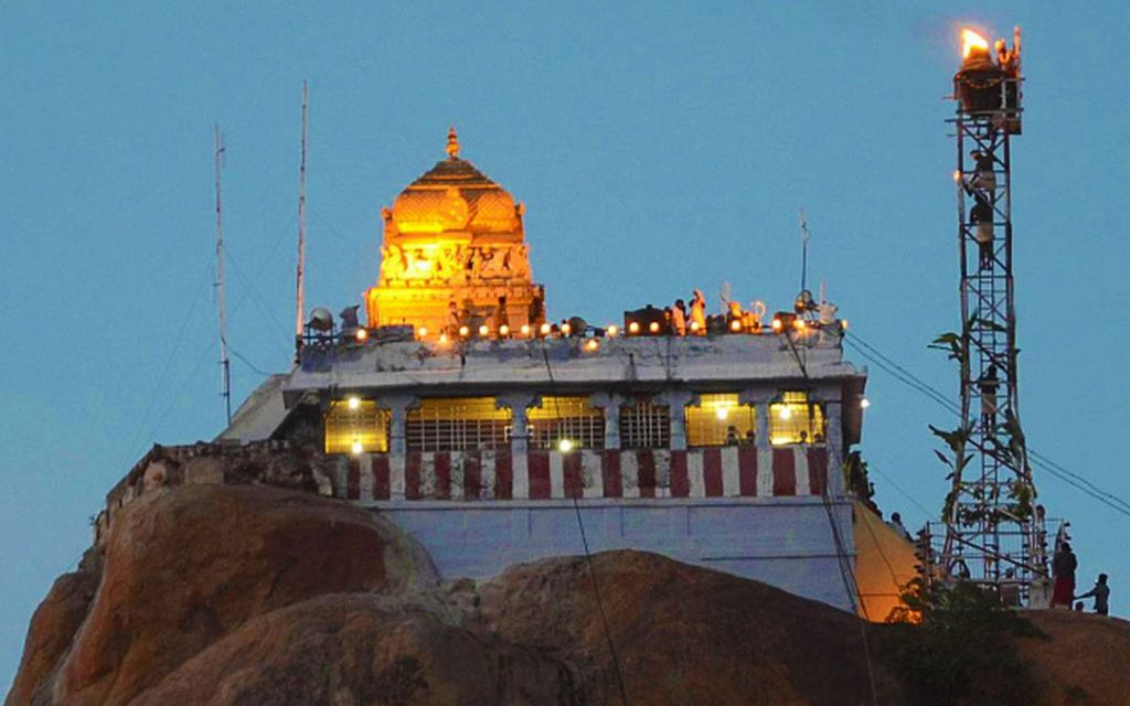 A view of the Uchipillayar temple after the 'Karthigai Deepam' was lit in Tiruchi