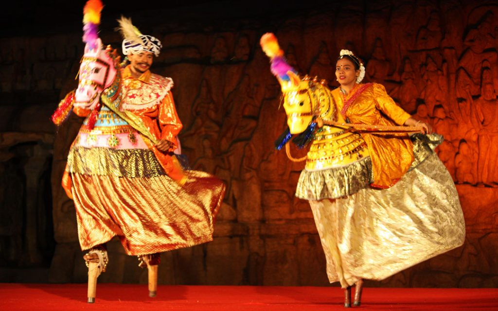 Performing Poikkaal Kuthirai Aattam in Mahabalipuram Dance Festival