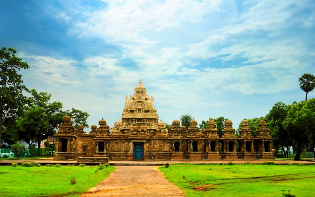 Beautiful scenic view of ancient Hindu Kanchi Kailasanathar Temple (popular tourist and pilgrim attraction) against the background of cloudy blue sky in Kanchipuram, Tamil Nadu