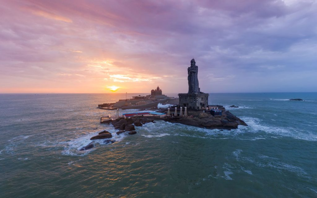 Vivekananda Rock Memorial and Thiruvalluvar Statue photography while sunrise.