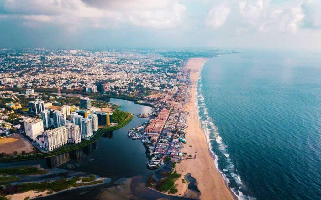 An amazing aerial view of Chennai marina beach