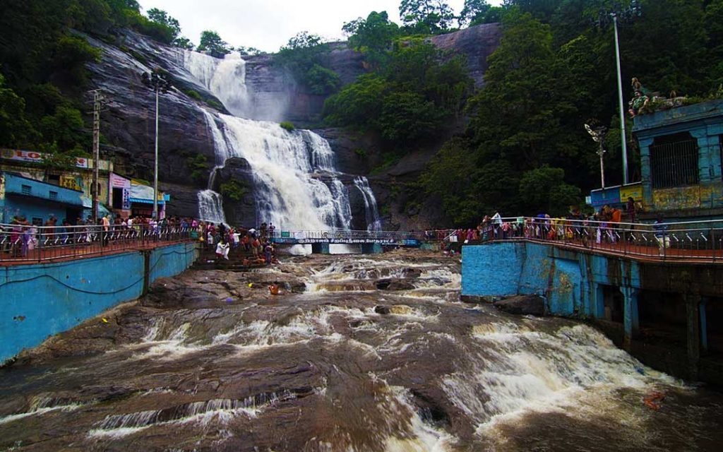 An amazing view of water flows in Courtallam main waterfalls