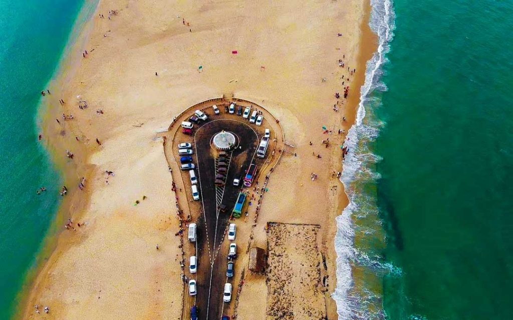 An extraordinary aerial view shot of Dhanushkodi road(end point of Indian Subcontinent)