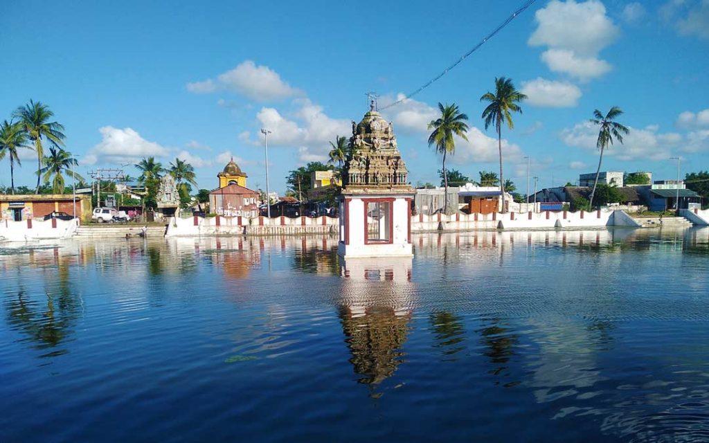 A view of Ettukudi murugan temple pond