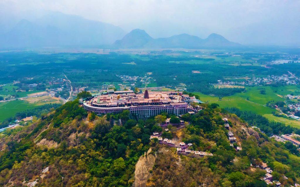 Palani Dhandayuthupani Temple aerial view shot