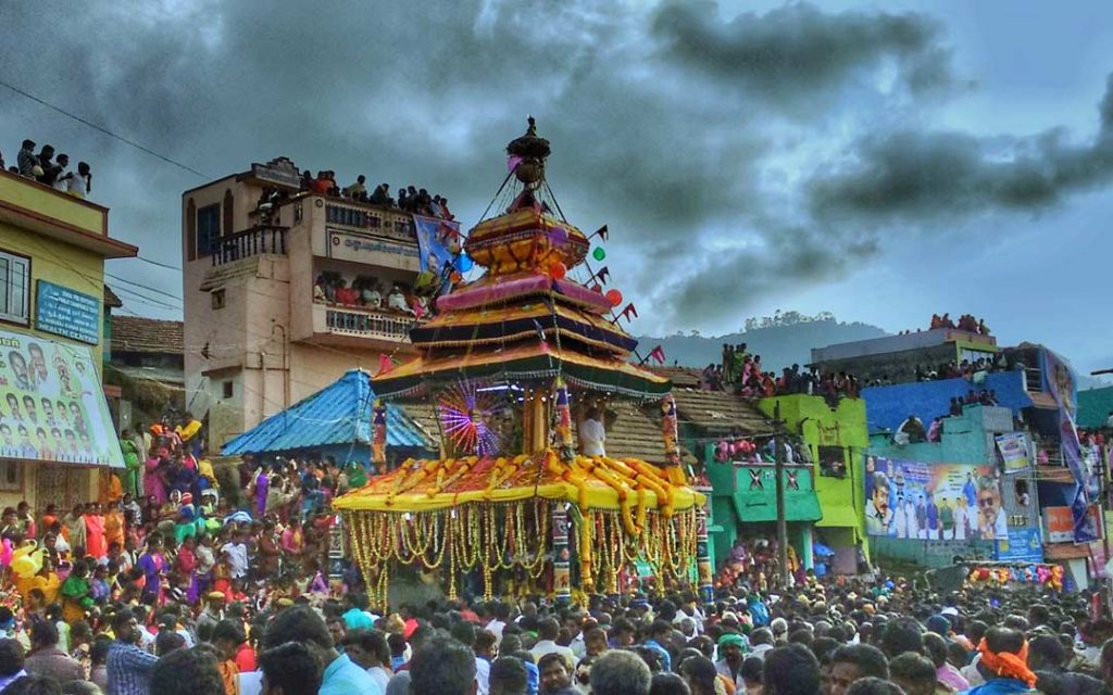 A glimpse of car festival in Poombarai Kuzhandhai Velappar temple which is celebrated after the Thaipusam festival