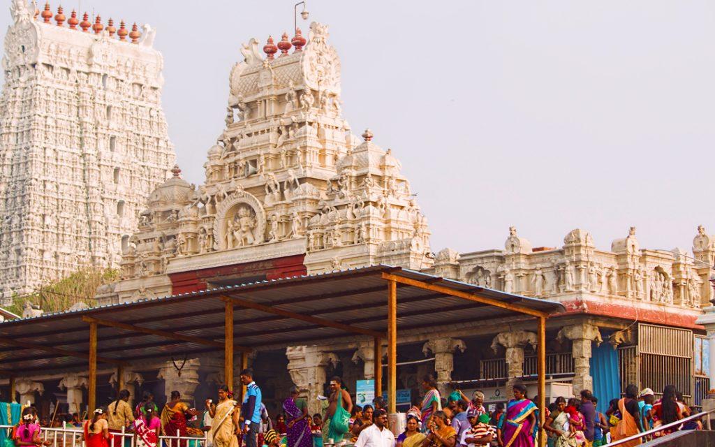 Devotees at Thiruchendur Murugan Temple is an ancient Hindu temple dedicated to Lord Murugan situated in Thiruchendur Seashore