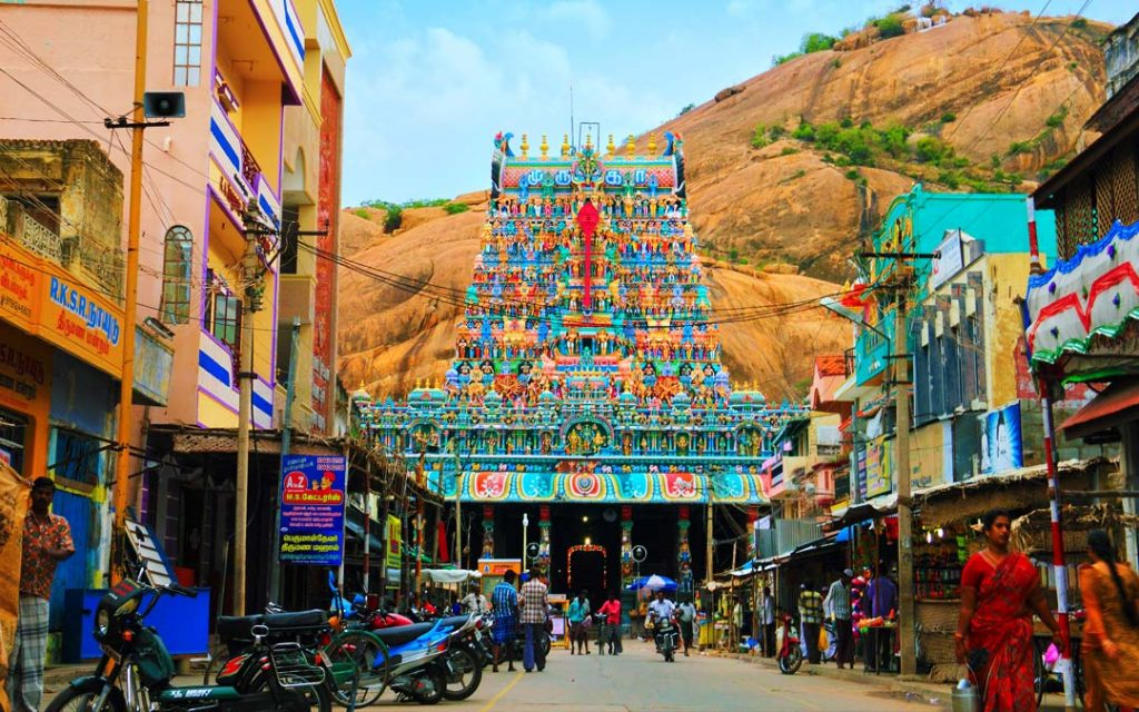 Thiruparankundram Murugan Temple view of entrance from street